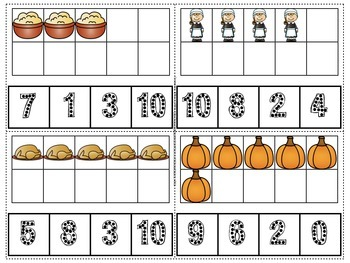 Thanksgiving Count and Clip Numerals 1-10