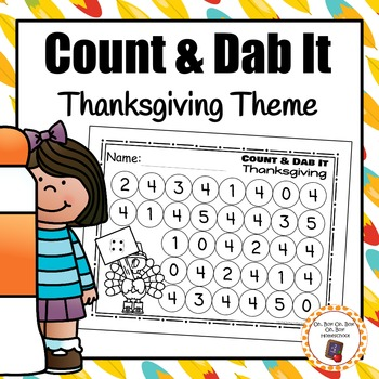 Thanksgiving Count and Dab It Worksheets