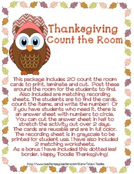 Thanksgiving Count the Room + Worksheets + Free Border Art
