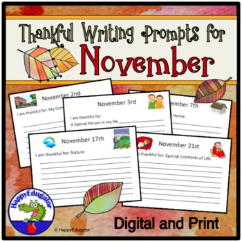 Thanksgiving Writing Prompts - November Quick Writes