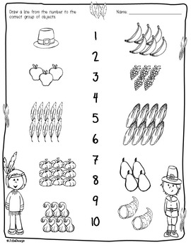 Thanksgiving Counting 1-10 - Fall Themed PreK Worksheet by JolieDesign