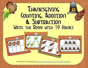 Thanksgiving Counting, Addition & Subtraction with Ten Frames {Subitizing}