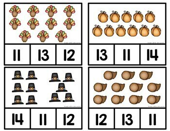 Thanksgiving Counting Clip Cards 1-10