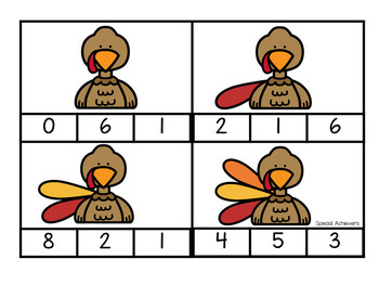 Thanksgiving Counting Clip Cards