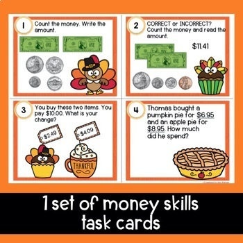 Counting Coins Scoot/Task Cards Thanksgiving Themed