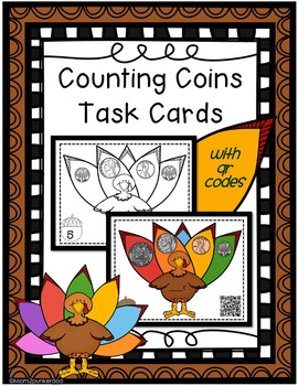 Thanksgiving Counting Coins Task Cards