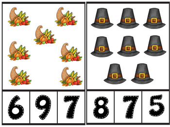 Thanksgiving Count and Clip Number Cards