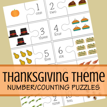 Thanksgiving Counting/Number Puzzle (Numbers 1 - 10)