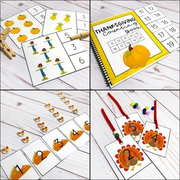 Thanksgiving Counting Pack - Hands on Activities for Numbers 1-20