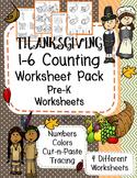 Thanksgiving Counting - PreK Number Worksheet Pack