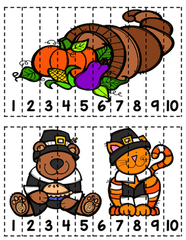 Thanksgiving Counting Puzzles (FREE)