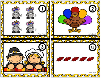 Thanksgiving Counting Task Cards for Kindergarten and 1st Grade Numbers 0 - 10