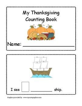 Thanksgiving Counting and Adjective Mini Book