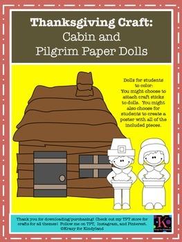 Thanksgiving Craft: Cabin and Pilgrim Paper Dolls