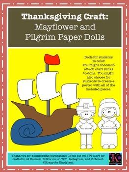 Thanksgiving Craft for Kindergarten: Mayflower and Pilgrim Paper Dolls (Fall)