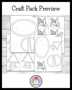 Thanksgiving Craft Pack: Football Turkeys, Scarecrow, Crow, Pie Pilgrims