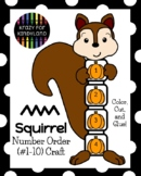 Fall Squirrel Craft Activity: Math Center Number Identification and Order