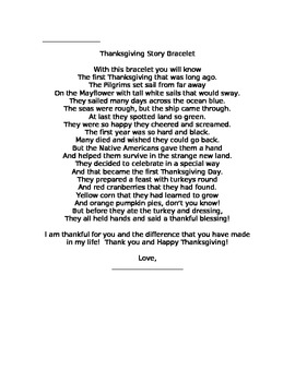 Thanksgiving Craft with poem