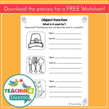 Thanksgiving Craftivity & Worksheets (especially for SLPs!)