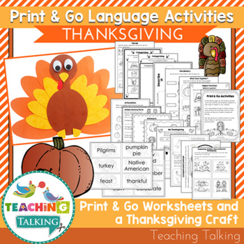 Thanksgiving Speech Therapy - Speech and Language Activities