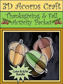 Thanksgiving Crafts: 3D Acorns Fall Activity Packet Bundle