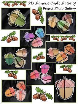 Thanksgiving Crafts: 3D Acorns Fall Activity Packet Bundle - Color & B/W