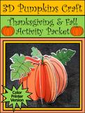 Thanksgiving Crafts: 3D Pumpkins Fall Craft Activity Packe