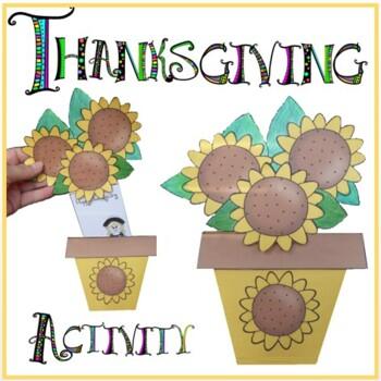 Thanksgiving Crafts - Flower Pot of Sunflowers