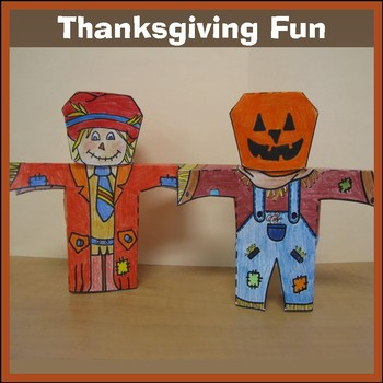 Thanksgiving Crafts - Scarecrows, a Pilgrim, a Tee-Pee and a Turkey