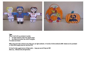 Thanksgiving Crafts - Football Player, Cheerleader, Pumpkin and Goodie Basket