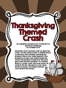 Thanksgiving Crash-A Game for Multiplying by Multiples of Ten