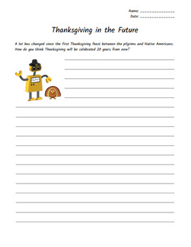 Thanksgiving Creative Writing Activity (ESL Suitable!)