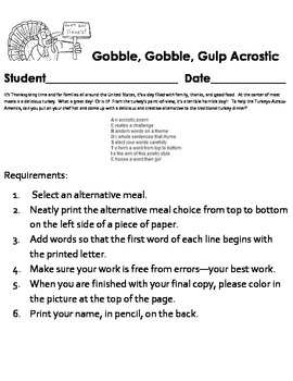 Thanksgiving Creative Writing - Alternative Meal Acrostic