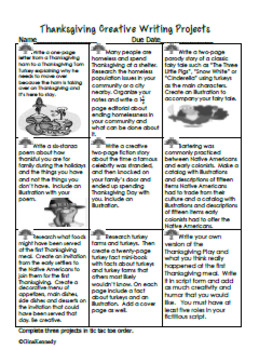 Thanksgiving Creative Writing Projects for Upper Elementary Students
