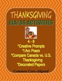 Thanksgiving U.S. and Canada Writing Bundle: Prompts, I Am, Compare/Contrast