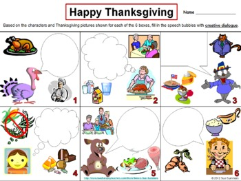 Thanksgiving Creative Writing Speech Bubble - English