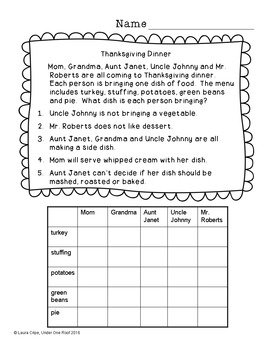Thanksgiving Critical Thinking Freebie
