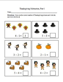 Thanksgiving Cross Out Subtraction Worksheets
