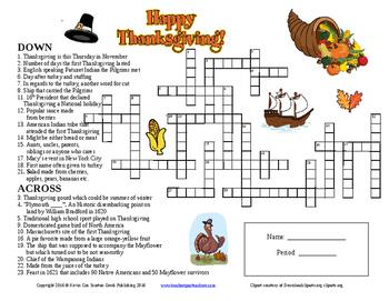 Thanksgiving Crossword by Scorton Creek Publishing - Kevin ...