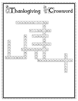 Thanksgiving Crossword (3rd / 4th)