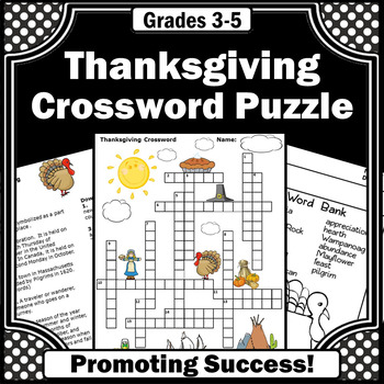 Thanksgiving vocabulary crossword puzzle for kids