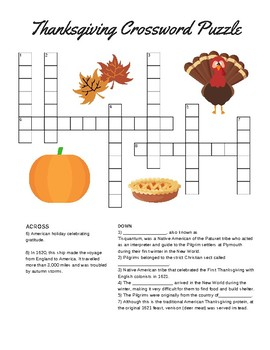 Thanksgiving Crossword Puzzle by Teacher's Edition | TpT