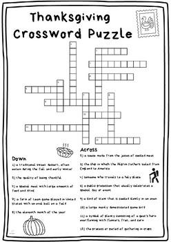 Thanksgiving Crossword Puzzle