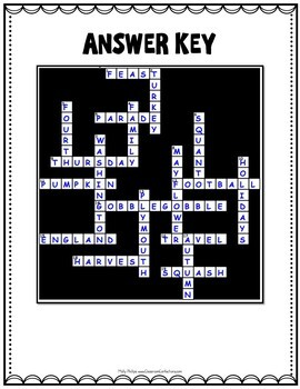 Thanksgiving Crossword Puzzle
