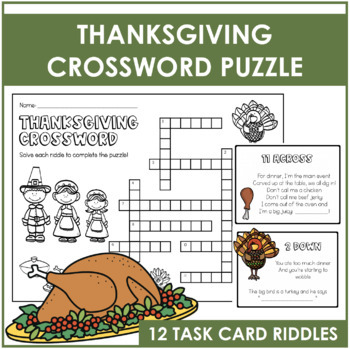 Thanksgiving Crossword Puzzle and Task Cards by Markers ...