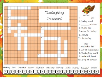 Thanksgiving Crossword Puzzle for SMART Board