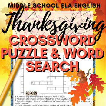 Thanksgiving Activities: Crossword Puzzle and Word Search