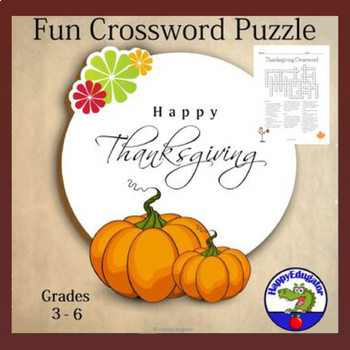 Thanksgiving Crossword Puzzle with Word Bank - Fun Facts ...