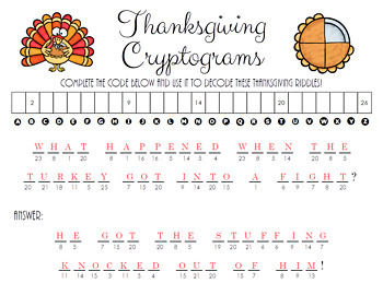 Thanksgiving Cryptograms