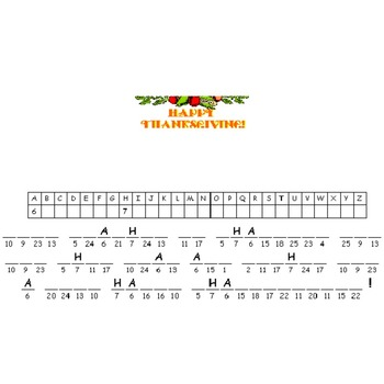 Thanksgiving Cryptogram